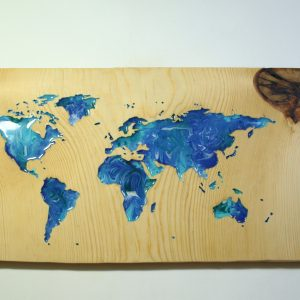 World Map (Blue with Resin)