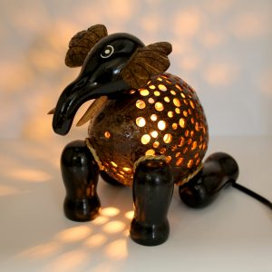 Black Elephant Coconut Lamp