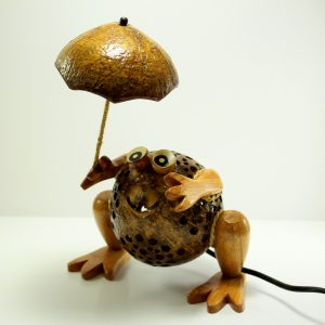 Frog with Umbrella Coconut Lamp