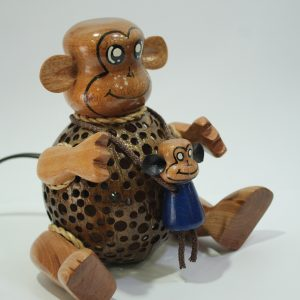Monkey with Baby Coconut Lamp
