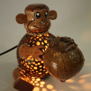 Monkey with Coco Coconut Lamp