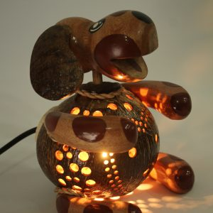 Dog (sitting) Coconut Lamp